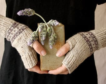 Ready to Ship - Wool Fingerless Gloves in Natural - Womens Winter Accessories