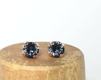 Graphite Swarovski Crystal Earrings ~ Swarovski Stud Earrings ~ Gray Crystal Stud Earrings ~ Black Stud Earrings ~ Gray Stud Earrings