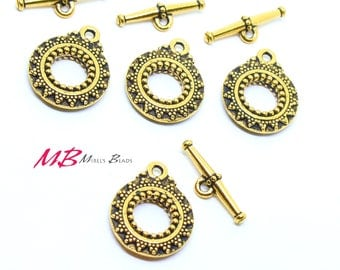 High Quality Large Bali Antique Brass Plated Toggle Clasps, 27mm 2 Sets