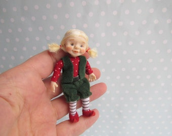 Reserved- OOAK miniature Fairy, GNOME, Elf, Pixie doll 1:12 Dollhouse miniature doll POSEABLE. Polymer clay Handsculpt art doll. Artist made