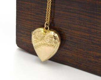Antique 9K Gold Heart Locket Necklace | 9ct Back And Front Locket Pendant