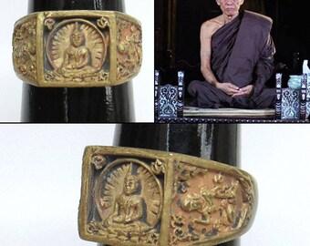 Size.10 LP Suea Dam Ring Model Burana Bot 100 Years Wat Nong Namsom 2010 Thai Amulet