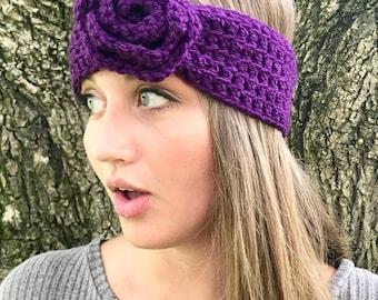 Purple Flower Crochet Headband, Ear Warmer