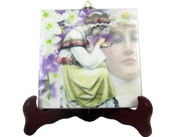 Our Lady of La Salette catholic icon on ceramic tile Virgin of La Salette catholic art religious art Our Lady of Sorrows Virgin Mary art
