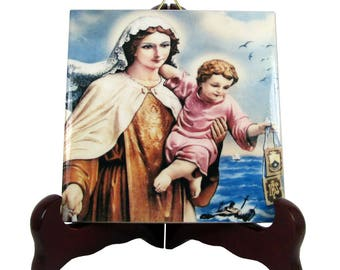Our Lady Star of the Sea Stella Maris religious icon on ceramic tile - a perfect catholic gift - virgin mary art - christian wall art