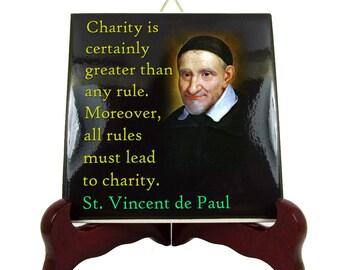 Religious gifts - Catholic Saints Quotes - St Vincent de Paul - ceramic tile - catholic quotes - catholic print - Saint Vincent de Paul