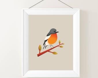 Robin on a Branch printable wall art