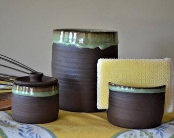 crock, stoneware crock, kitchen crock set, kitchen accessories, sponge holder, sea salt jar, covered jar, ring jar