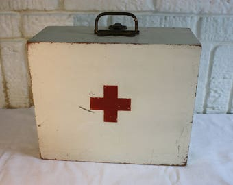 Antique FIRST AID Kit Hand-painted White + Red Cross Stencil Wooden Box Hinged Lid  Primitive Rustic Americana Storage