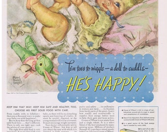 Maud Tausey Fangel Baby & Toy Bunny Artwork Cream of Wheat 1937 Print Ad