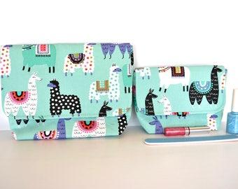 Teal toilet bag, Llama gift, cute make up case, zip free bag, blue cosmetic bag, large cosmetic bag, small gadget bag,
