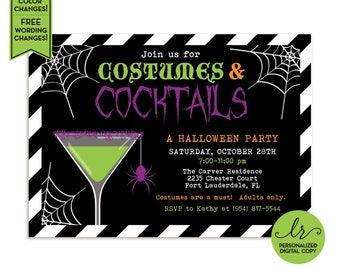 Costumes and Cocktails Halloween Party Invitation - Halloween Bash Invite - Costume Party - Bachelorette Party - Printable