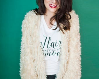 """New """"Hair Is My Canvas"""" Women Long Sleeve White Black Comfy Cotton Stylist Shirt"""