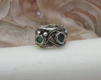 Upcycled teal glass in fine silver ring