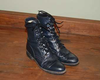 Women Size 6 1/2 Vintage Justin Western Black Lace Up Boots