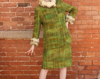 Home Sewn Wool and Fun Fur Vintage 1960s Two Piece Suit