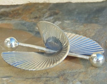 Large Sterling Silver Modernist Helix Barbell Pin / Brooch 19 Grams