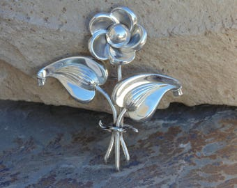 Marcel Boucher ~ Parisina - Vintage Mexican Sterling Silver Flower Brooch / Pin c. 1940's