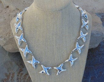 Heavy Mexican Sterling Silver 18 inch  X Link Necklace with Push Clasp - 103 Grams