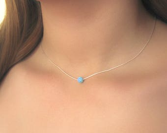 Silver Opal Necklace , Blue Opal Necklace , Opal Jewelry , Sterling Silver , Silver Necklace , Birthstone Necklace , Simple Opal Necklace