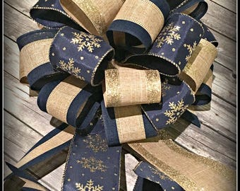 Christmas Package Bow, Navy Gold Tan Glittered Bow, Lantern Bow, Christmas Tree Bow, Wreath Bow, Basket Bow, Navy Gold Snowflake Burlap Bow