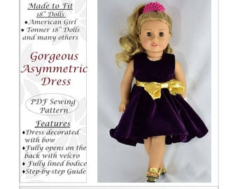 Gorgeous Asymmetrical Dress, 18 inch Doll Clothes pattern, PDF Sewing Pattern fits most 18 inch dolls, American Girl doll clothes patterns