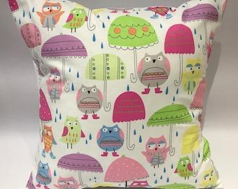 Owl cushion, cute owl cushion, owl pillow, fun owl cushion, kids cushion, owls and umbrella cushion, children's cushion, nursery cushion