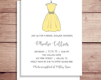 Bridal Shower Invitations - Bridesmaid Dress Shower Invitations - Wedding Shower Invitations - Shower Invitations - Dress Invitations
