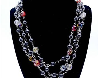 Hematite and Crystal Rosary Style Wrap necklace