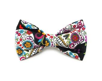 Sugar Skulls Dog Bow Tie, pet bow tie, collar bow tie, wedding bow tie