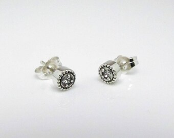 April Birthstone Stud Earrings, Sterling Silver, The Generations Collection
