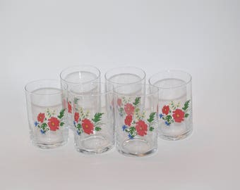 Soviet Decorative Drinking Glasses Set of 6 Folk Glasses with flowers Water and juice glasses Tumblers Polish glass Floral glassware