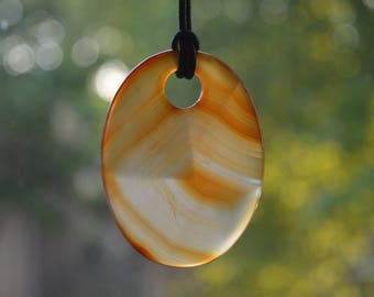 Large Orange Carnelian Drilled Pendant