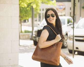 Leather Tote Bag // Leather Work Bag // Leather Shoulder Bag
