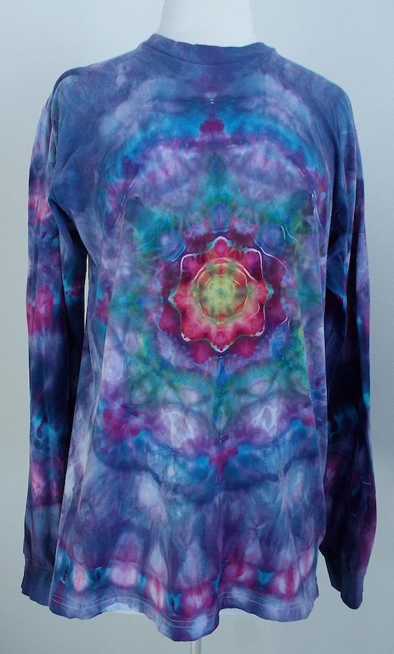 Ice-dyed Large Long Sleeve Unisex Mandala TShirt