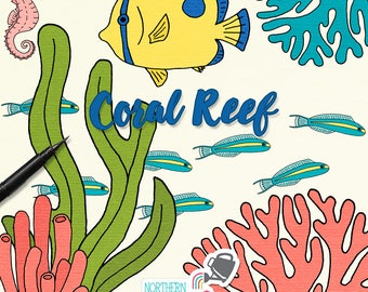 Tropical Fish and Coral Reef Illustrations - ocean clip art including fishes, seaweed, seahorses, and coral - commercial use CU OK