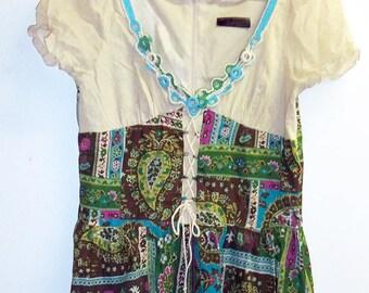 Patchwork green folk dress