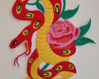 Extra large snake with rose iron on or sew on patch  18 cm x 12 cm (7.1'' x 4.72'') snake patch Rose snake iron on patch Reptile patch