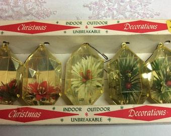 Jewelbrite Set of Five Diorama Christmas Ornaments Mirrored Backing Original Box