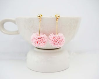 Gold and Pink Pom Pom Ruffle Stud Earrings