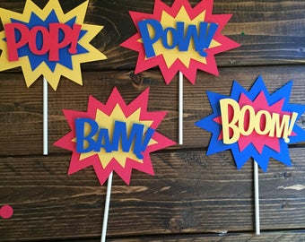 Superhero Party - Superhero Cake Topper - Superhero Decor - Boom Pow Pop Bam - Superhero Centerpiece  Superhero Smash Cake