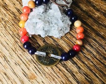 Chinese Coin Gemstone Bracelet
