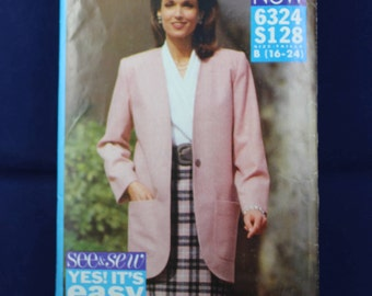 1990's Sewing Pattern for a Jacket, Skirt & Blouse in Size 16-24 - Butterick 6324