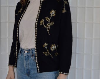 Vintage Beaded Lambswool Angora Nylon Cardigan Sweater, Size XS