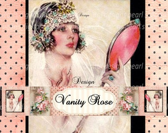 Vanity Rose, Cover banner and shop icon, instant download, blank, hand mirror, vintage theme, lady in veil, headdress, pink, black, bride