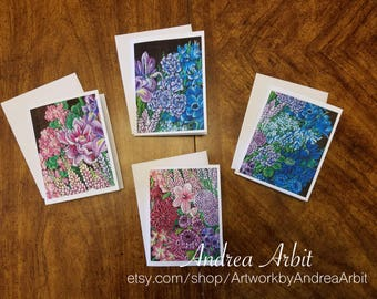 Flower Drawing Prints - Gender Bouquet Set - Pack of 4 Blank A2 Notecards