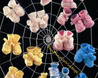 Baby Knitting Pattern pdf Vintage Bootees Booties 1-6 mths  4 ply