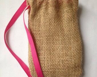 """Pack of 20 Burlap Drawstring Favor Bags with Grosgrain Ribbon Tie 4"""" x 6"""""""