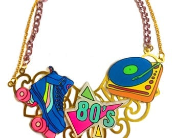80's Vintage Retro Suitcase Record Player, Vinyl Record Player, roller blades, Funky, Collar Statement Necklace, Rainbow Ringer, Graphic