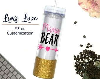 Mama Bear Tumbler Glitter dipped 16 oz Travel to go cup tumbler water bottle - Cups for Moms - Mama Bear Mugs - Straw Cups